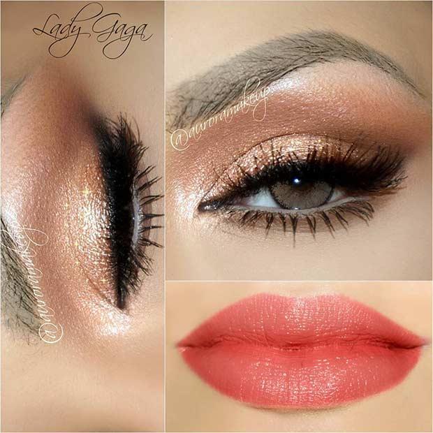 Dark Gold Eyes and Coral Lips Summer Makeup