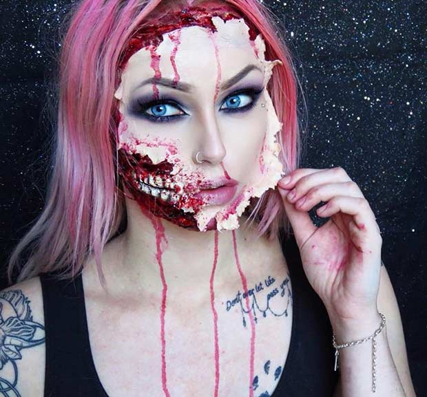 ripped face creepy halloween makeup look - Scary Faces For Halloween With Makeup