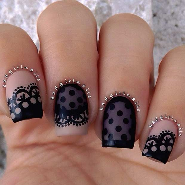Black Lace Nail Design Idea