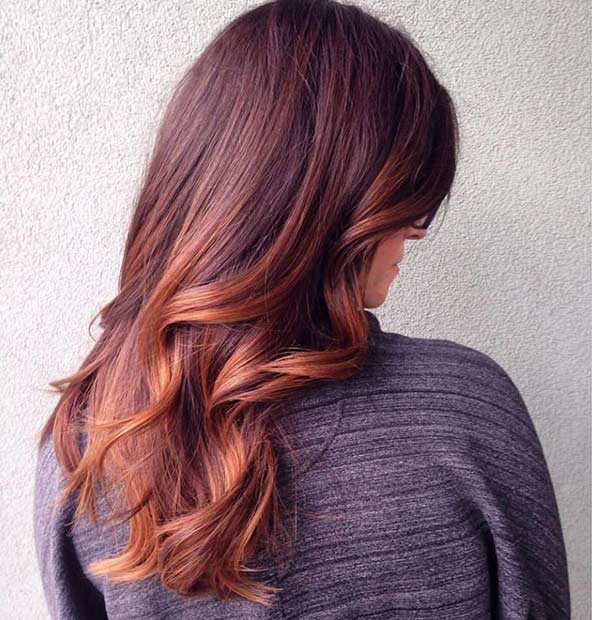 Bright Balayage Copper Lowlights