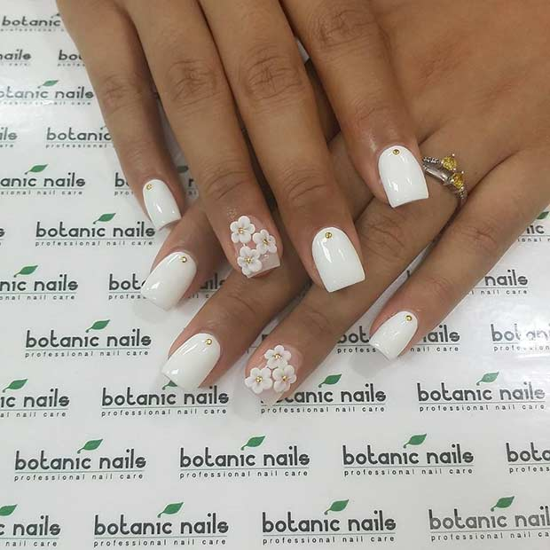 White Flower Nail Design