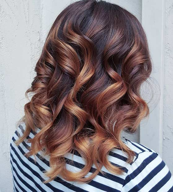 Bright Copper Balayage Hair for Fall