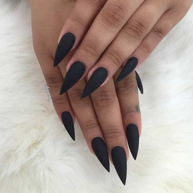 Long Black Matte Stiletto Nails