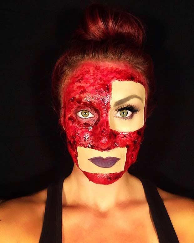 Patchwork Scary Halloween Makeup Idea