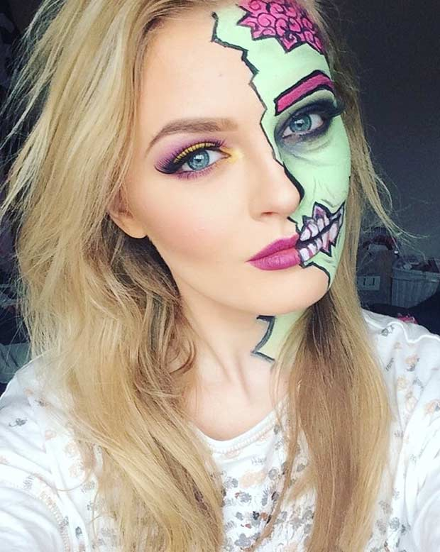 Half Face Pop Art Zombie Makeup Look for Halloween