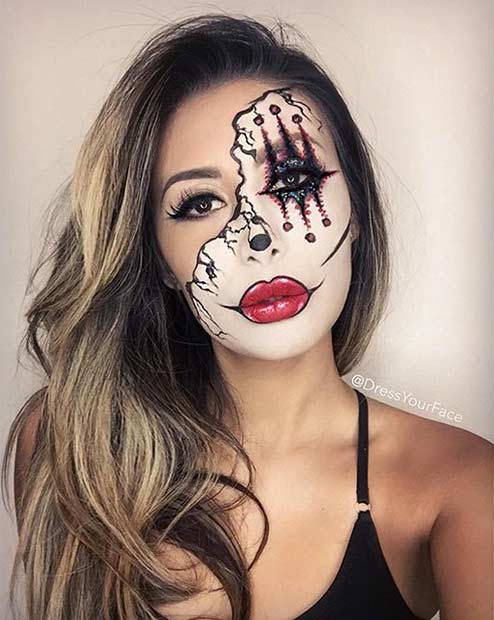 Scary Half Face Clown Halloween Makeup Look