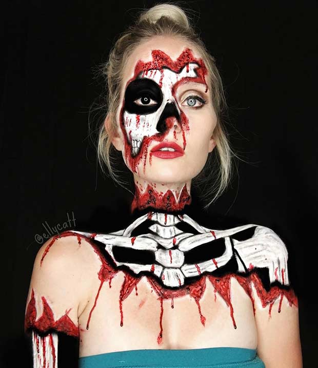Scary Skeleton Halloween Makeup Look