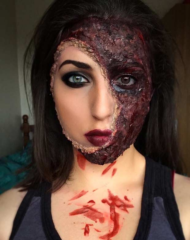 Burned Face Scary Halloween Makeup Look