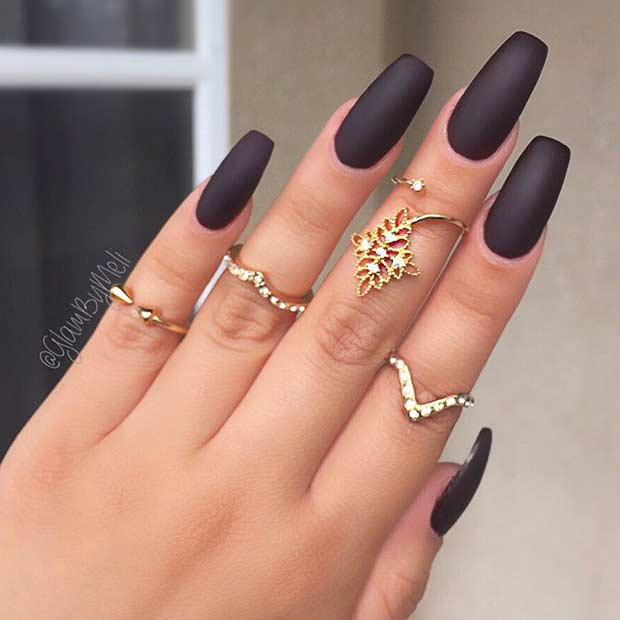 Black Matte Coffin Nails - 25 Edgy Black Nail Designs StayGlam
