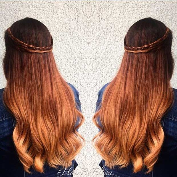 Golden Copper Balayage Hair Color Idea
