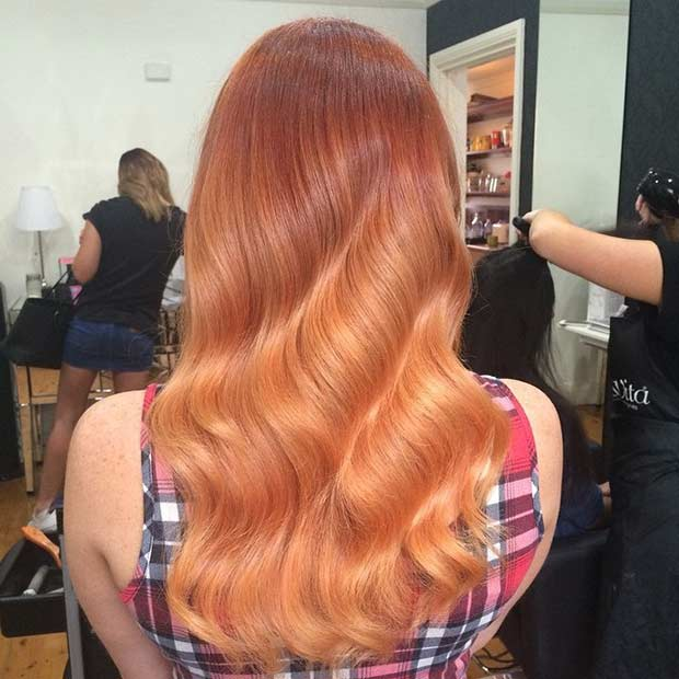 Orange Copper Balayage Hair Color Idea