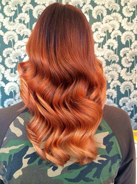 Soft Copper Ombre Hair Color Idea for Fall