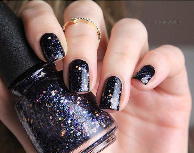 Black Glitter Nail Design - 25 Edgy Black Nail Designs StayGlam