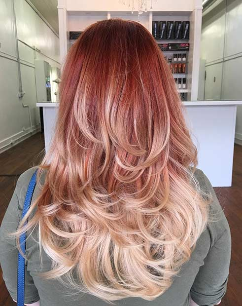 Red Copper to Blonde Ombre Hair