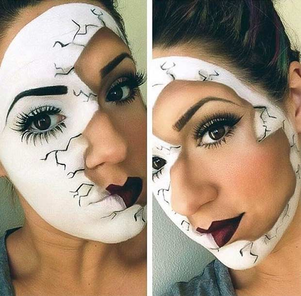 Broken Porcelain Doll Halloween Makeup Idea