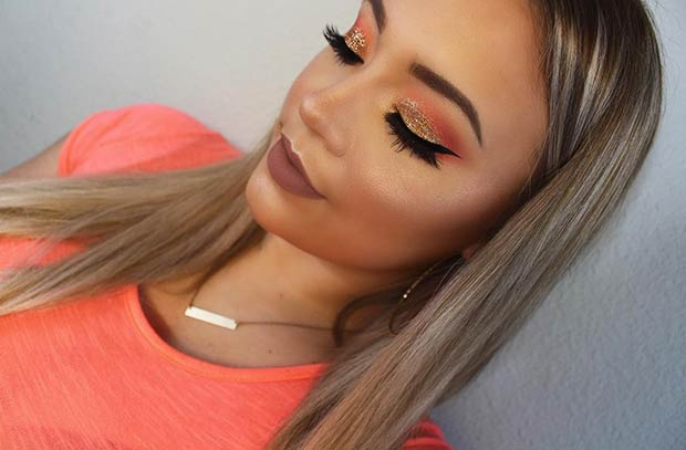 Orange and Gold Glitter Eye Makeup Look