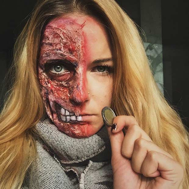 half burned face gore halloween makeup look