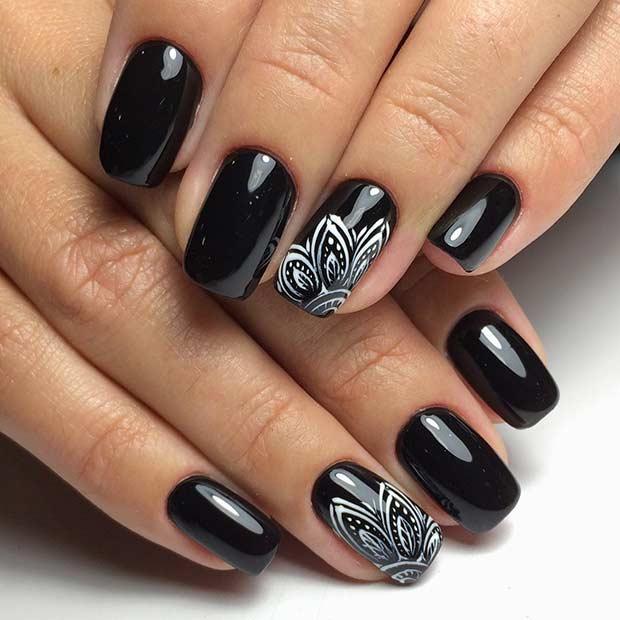 Black Nail Art: 25 Edgy Black Nail Designs