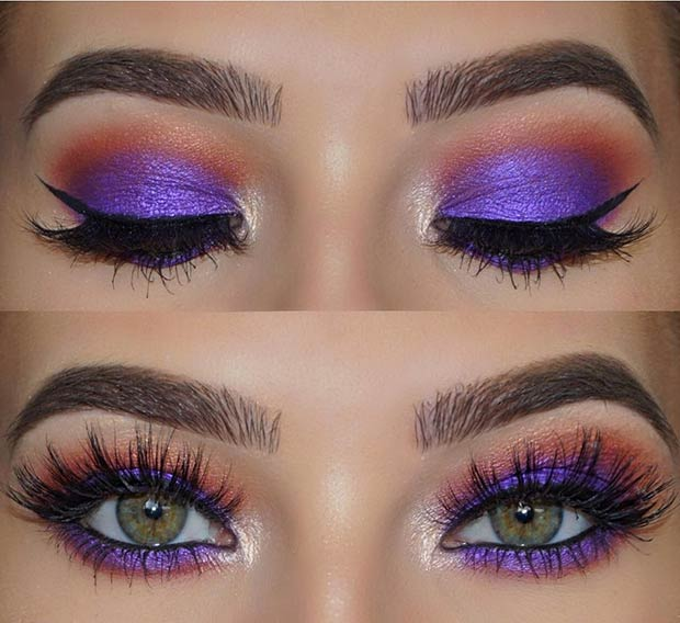 Purple and Orange Eye Makeup Look for Summer
