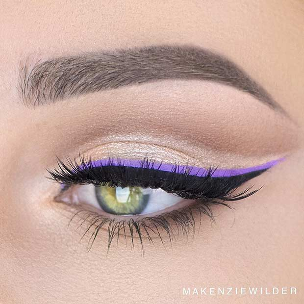 Black and Purple Eyeliner Makeup Look