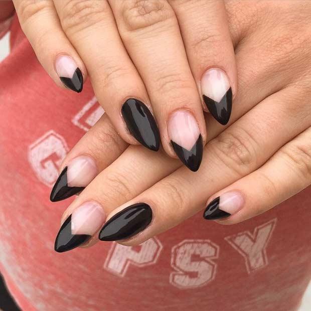 Black and Negative Space Stiletto Nails