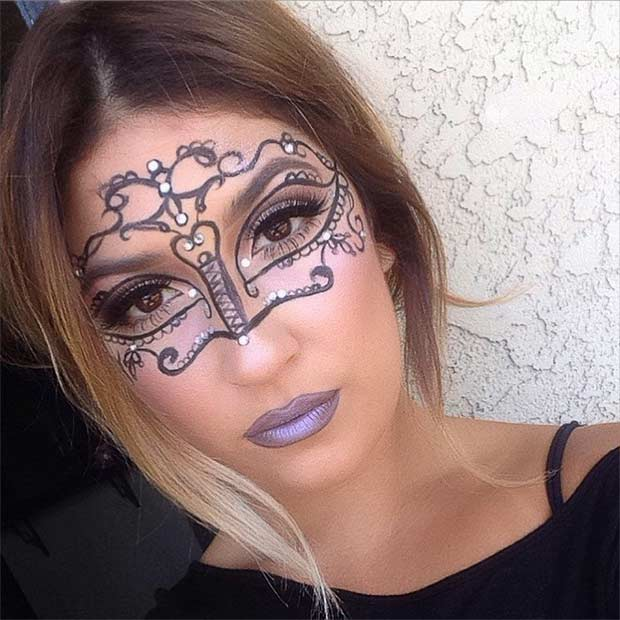 Easy Masquerade Makeup Mask for Halloween