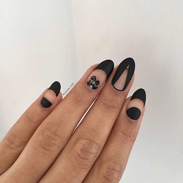 Cool Black Matte and Negative Space Nail Design
