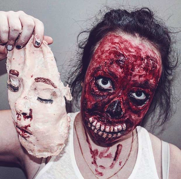 Horrifying Face Off Halloween Makeup