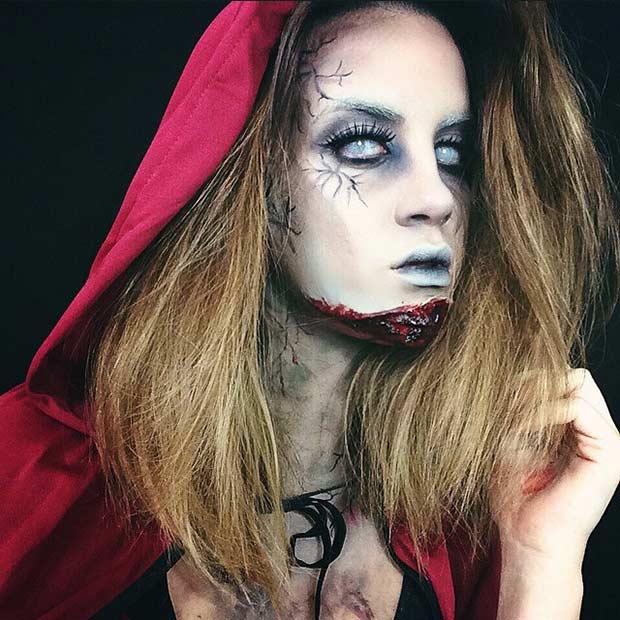 Zombie Red Riding Hood Halloween Makeup Idea