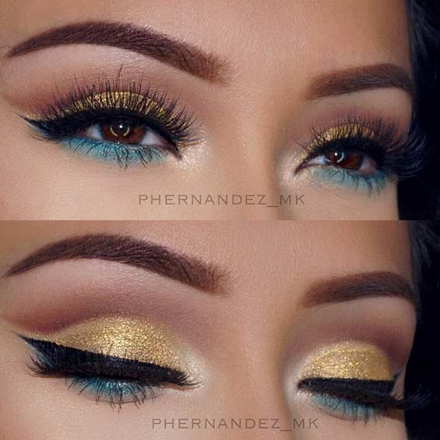 Gold and Green Glitter Eye Makeup Look