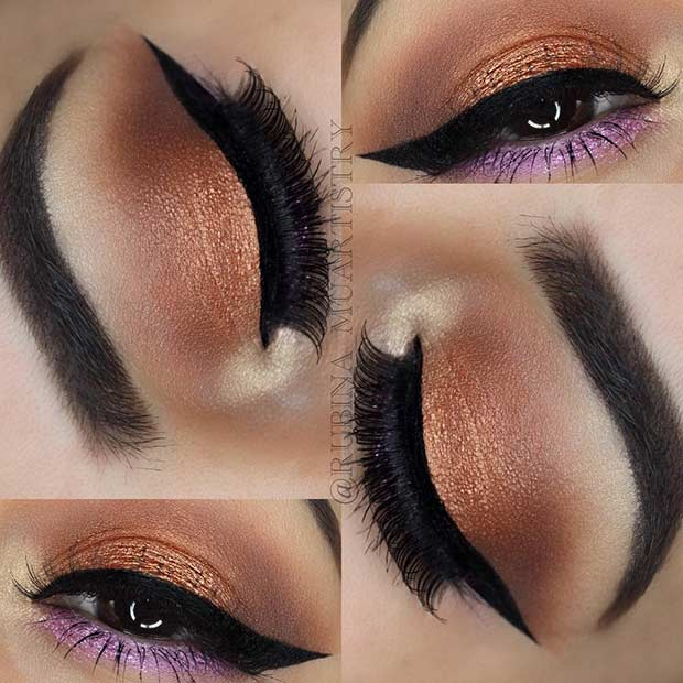 Purple Bronze Eye Makeup Look for Summer