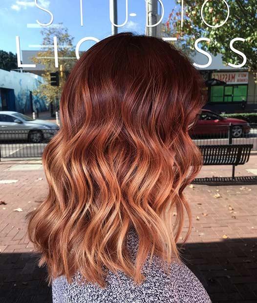Copper Balayage Long Bob Hairstyle