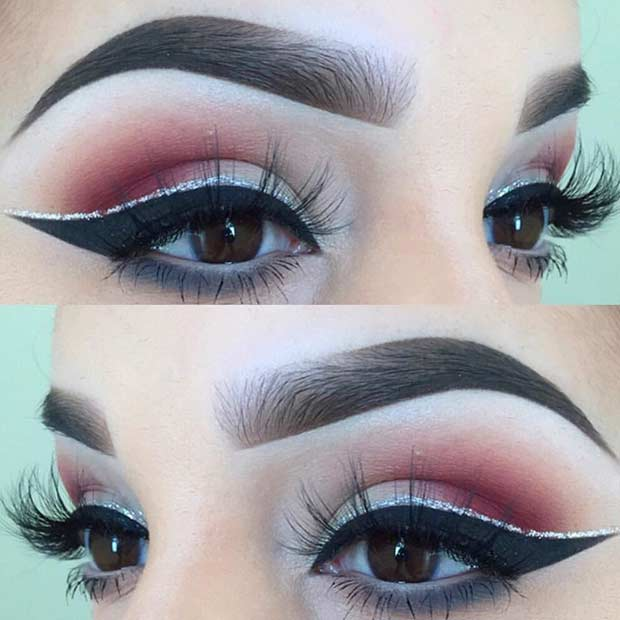 Burgundy and Silver Glitter Smokey Eyes