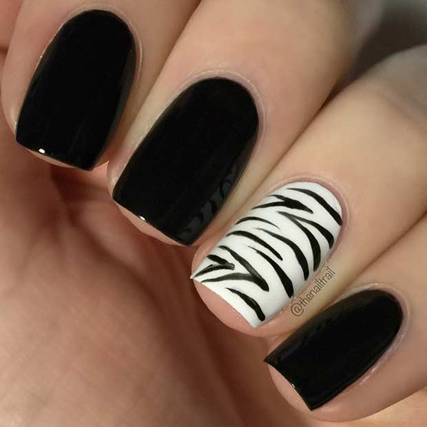 Black Nails with Zebra Accent Nail