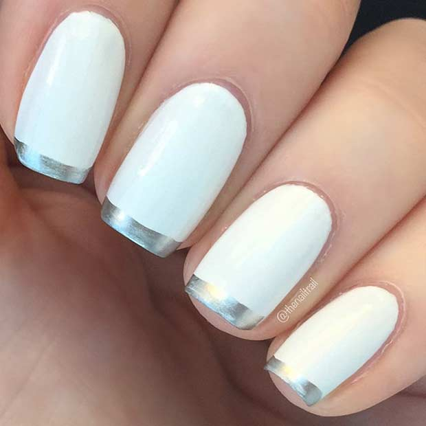 White and Silver French Tip Nails