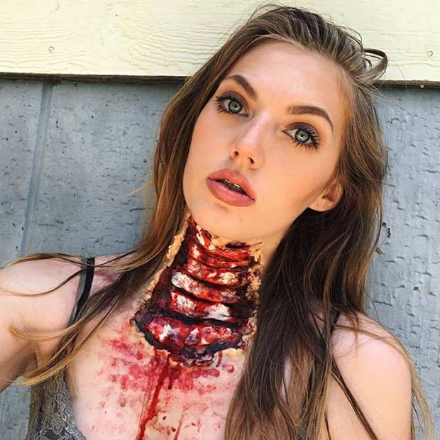 Ripped Out Throat Scary Halloween Makeup