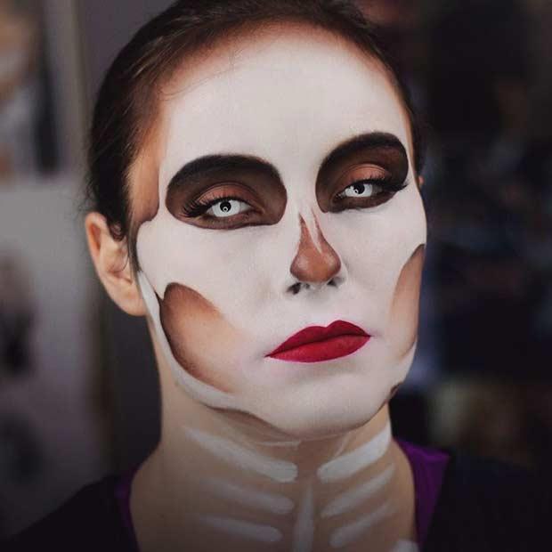 JLo Skeleton Makeup Look for Halloween