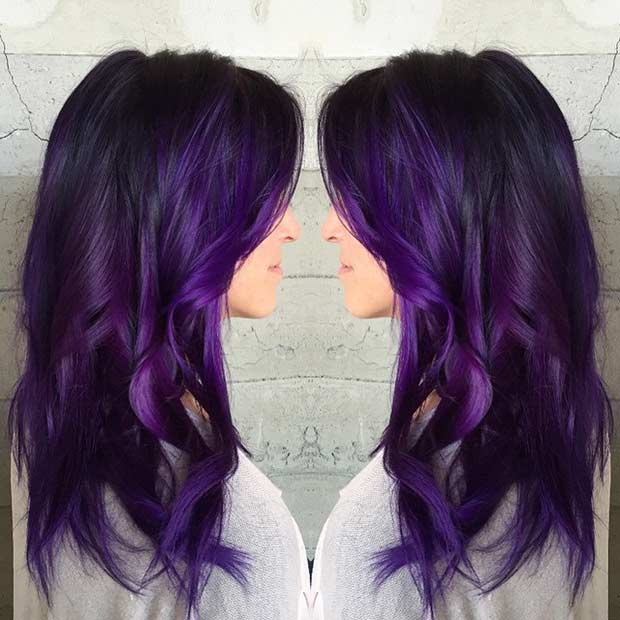 Dark Purple Hair Color Idea For Long