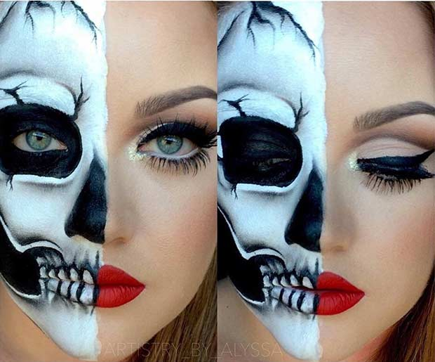 Glam Skeleton Halloween Makeup Look