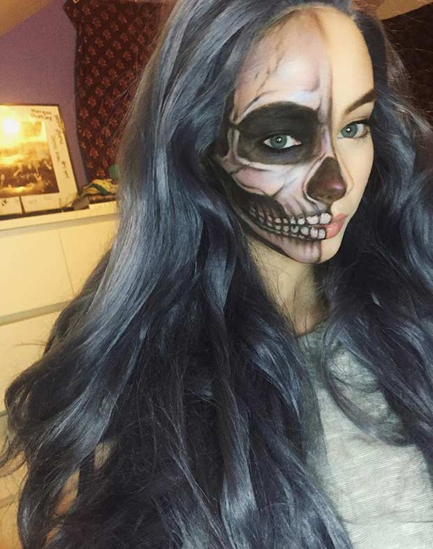 Half Face Halloween Makeup Idea