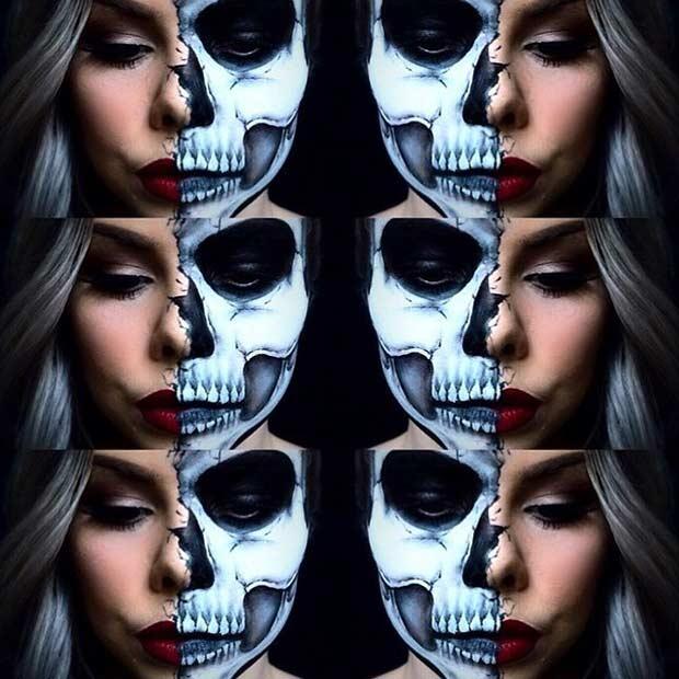 Half Face Skull Halloween Makeup Idea