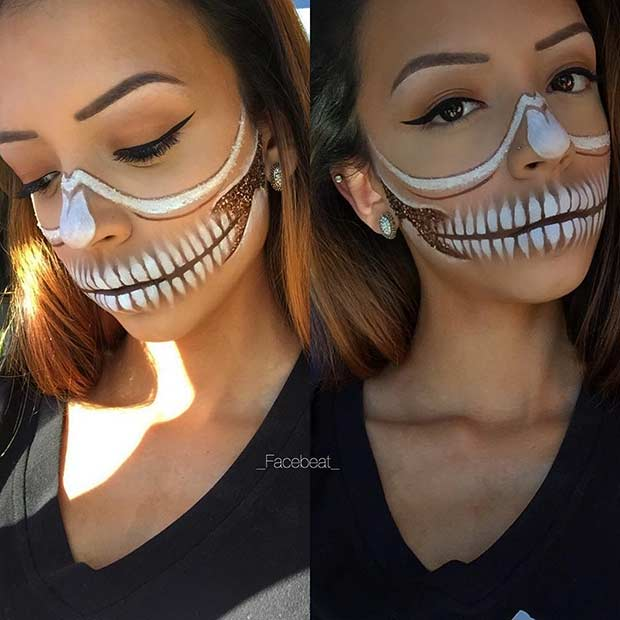 White and Gold Glitter Half Face Skeleton Makeup
