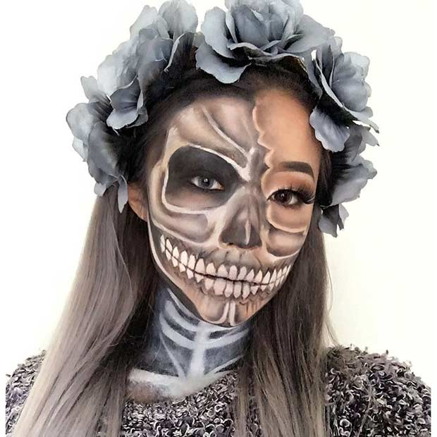 Grey Skeleton Makeup Look for Halloween