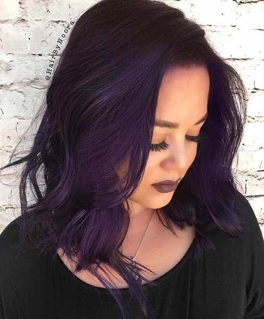 Dark Purple Lob Hairstyle