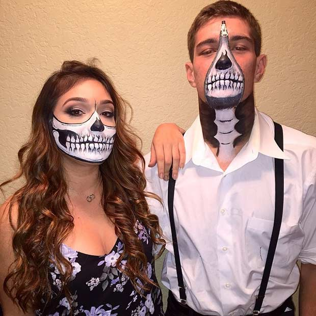 Couples Skeleton Makeup Look for Halloween