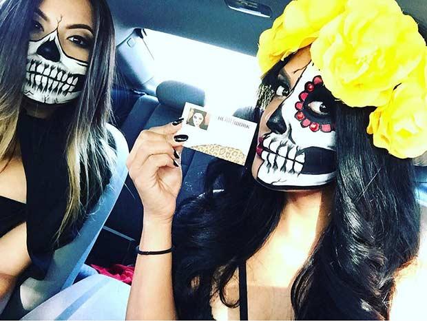 BFF Skeleton Makeup Look for Halloween