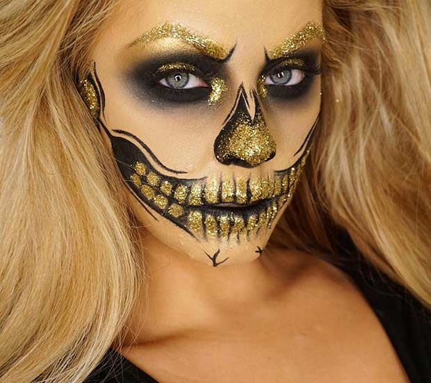 Glam Black and Gold Glitter Halloween Makeup Look