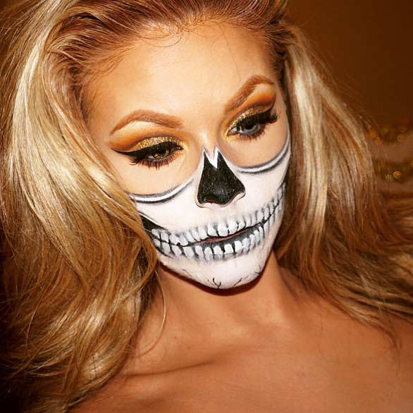 Half Skull Halloween Makeup Look