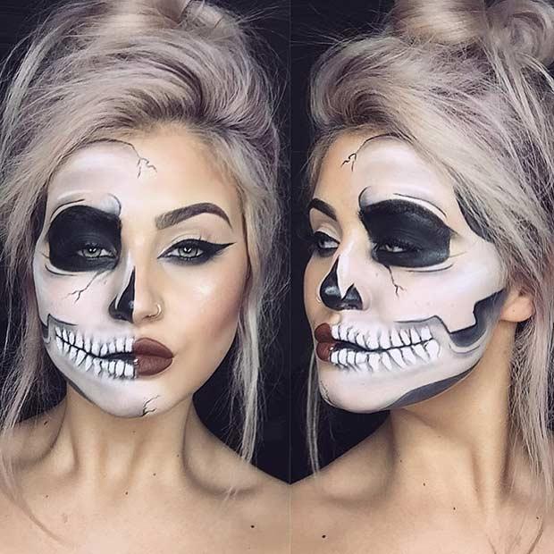Half Skull Halloween Makeup Look