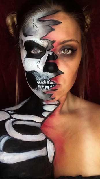 Creepy Halloween Skeleton Makeup Look